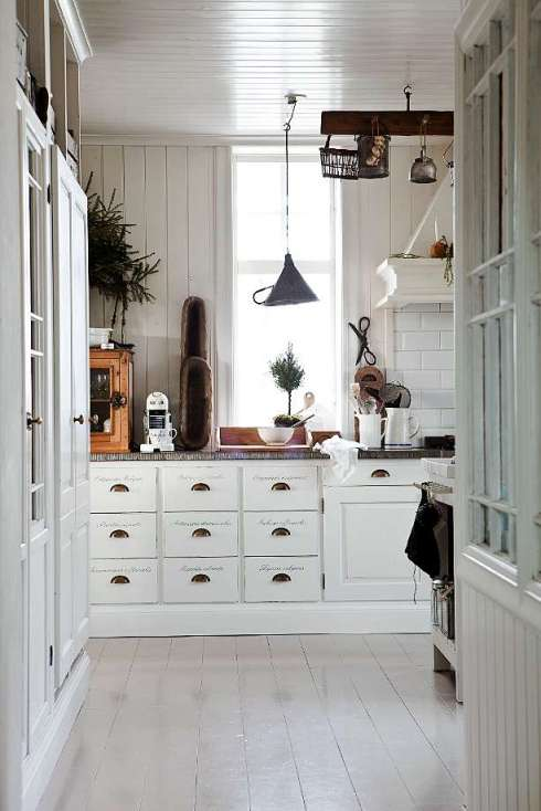 white painted scandinavian kitchen