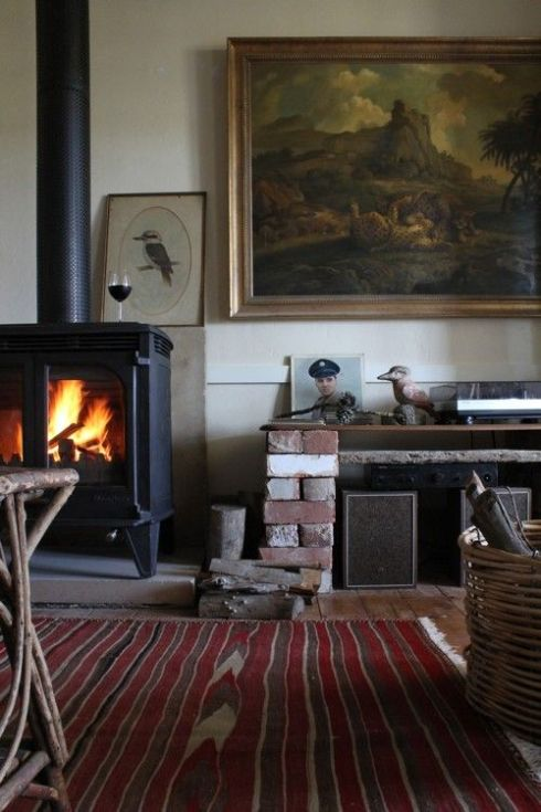 living room with kilim and stove