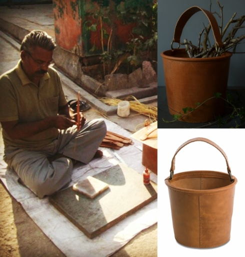 Fairtrade co operative making leather buckets for Decorator's Notebook (763x800)