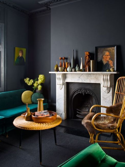 Dark grey living room with coloured accents