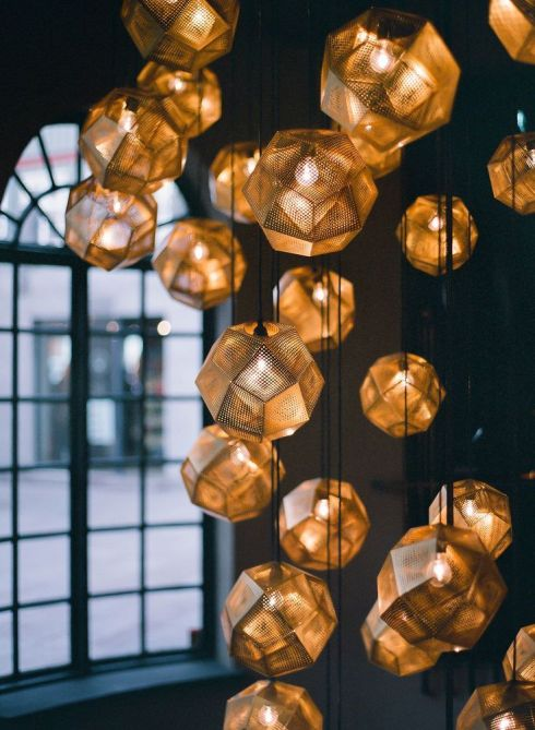 Gold geometric light fitting