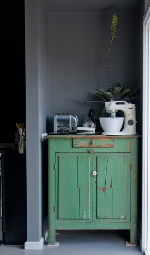 grey and green interior