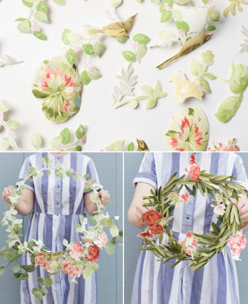 how to make a wreath from floral wallpaper scraps