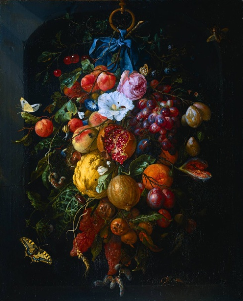 Still life of fruit and flowers by Jan Davidsz. de Heem