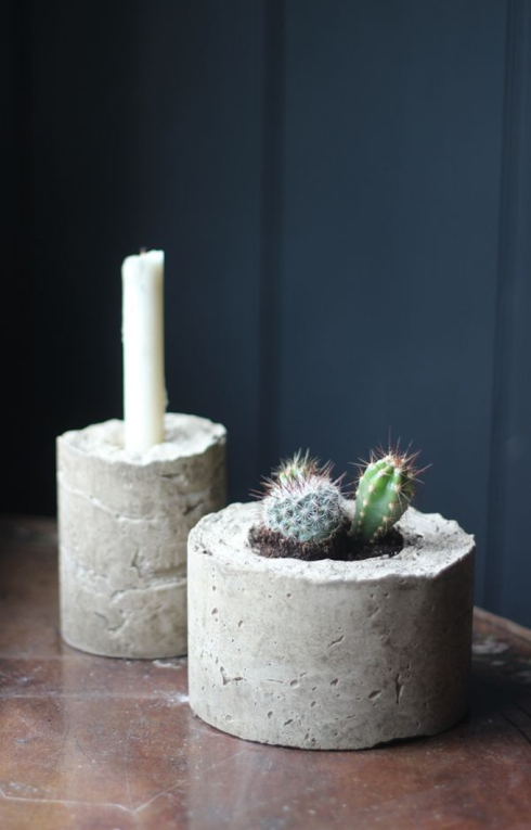 DIY concrete plant pot and candle holder Growing Spaces Blog