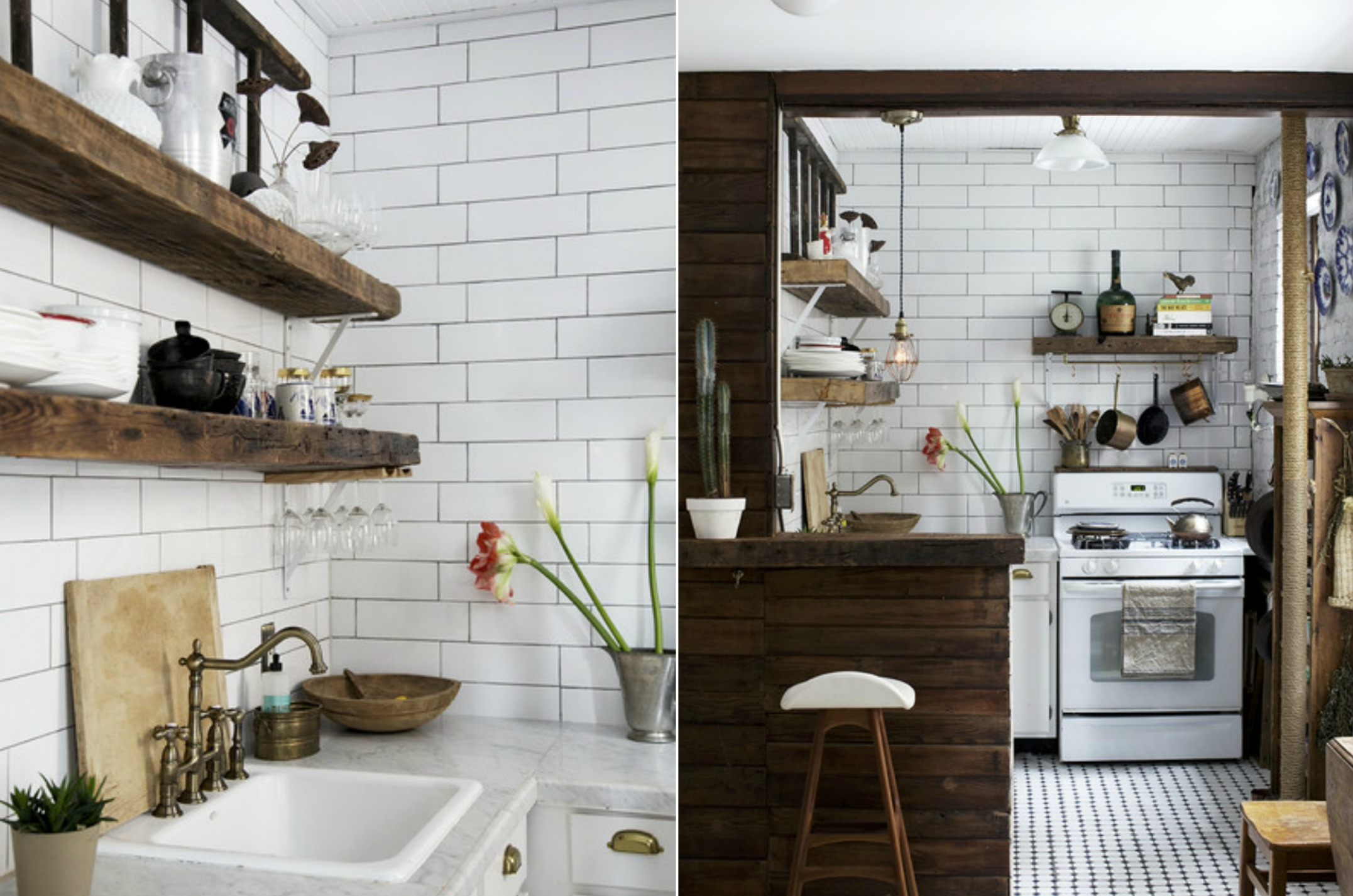 Reclaimed subway tile home design white vintage kitchen with reclaimed wood dailygadgetfo Images