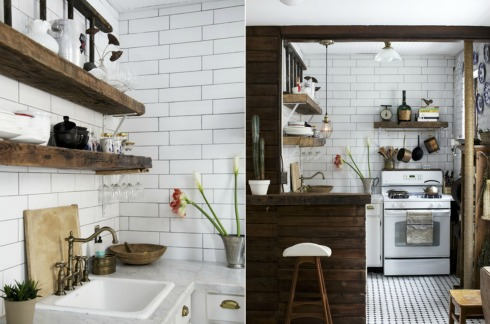 white vintage kitchen with reclaimed wood